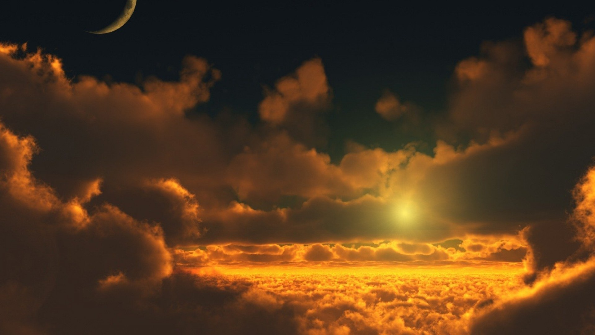 moon-clouds-nature-skyscapes-sunset-1920×1080-wallpaper